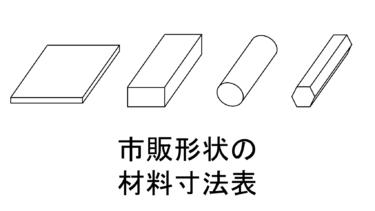 市販形状の材料寸法表